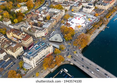 Zurich, Switzerland - October 27 2020: Aerial view of the Knie circus tent that lies on the Utoquai along lake Zurich in the largest city in Switzerland in autumn