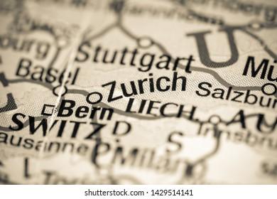 Zurich. Switzerland on a map