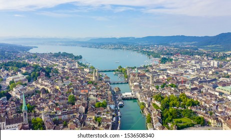 Zurich, Switzerland. Panorama of the city from the air. View of Zurich Lake. Limmat River Expiry Site, Aerial View