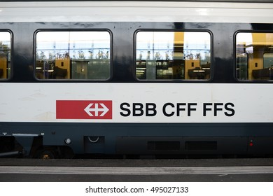 Zurich, Switzerland - September 09, 2016: SBB in German, CFF in French and FFS in Italian, the biggest transportation company in Switzerland