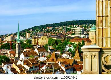 Zurich, Switzerland - September 2, 2016: Fraumunster Church and rooftops of the old city center of Zurich, Switzerland