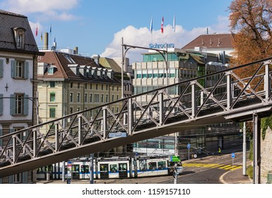 Zurich, Switzerland - September 25, 2017: the Polybahn funicular railway. The Polybahn, also known as the UBS Polybahn, is a funicular railway in the city of Zurich.