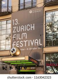 Zurich, Switzerland - September 27, 2017: a banner of Zurich Film Festival above the entrance to the Corso cinema. Zurich Film Festival takes place annually at the end of September since 2005.