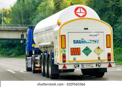 Zurich, Switzerland - September 3, 2016: Tanker storage vessel on the road in canton Zurich in Switzerland