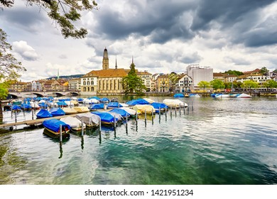 The Zurich, Switzerland. View of the historic city center with famous Fraumunster Church, on the Limmat river