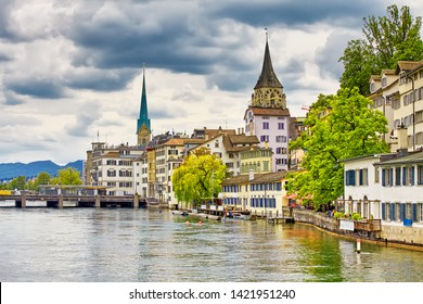 The Zurich, Switzerland. View of the historic city center on the Limmat river