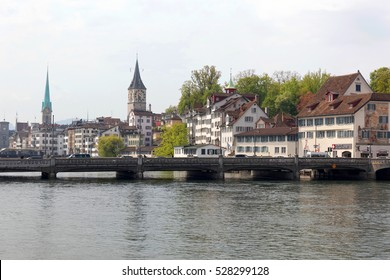 Zurich, Switzerland:May 03, 2016: view on Fraumunster Church and Church of St. Peter at Zurich.