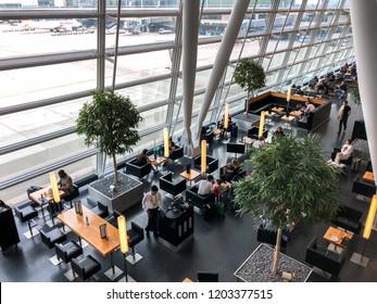 Zurich,Switzerland - 06-05-2018 : Luxury Cafe in Zurich International Airport .