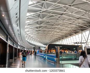 Zurich,Switzerland - 06-05-2018 : the waiting hall in Zurich Airport, also known as Kloten Airport, is the largest international airport of Switzerland.