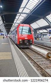 ZURICH/SWITZERLAND - AUG. 24, 2017: Zurich Hauptbahnhof (Central Station). The largest railway station and major hub located at the northern end of Altstadt (Old Town) in Zurich, Switzerland