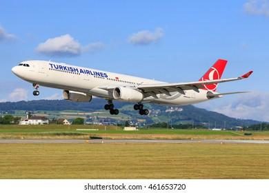 Zurich/Switzerland July10, 2016: Turkish Airliners Airbus A330 landing at Zurich Airport.