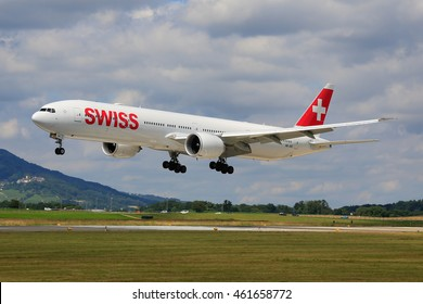 Zurich/Switzerland July10, 2016: Ukraine Airliners Embrear landing at Zurich Airport.