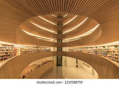 Zurich/Switzerland - Sept 2018: Circular perspective of the structure within the law library at The University of Zurich