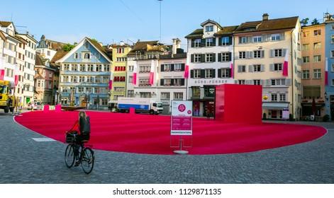 ZURICH,SWITZERLAND-June 14 ,2018 : Pink color carpet in Kornhausstrasse that call Stadtlounge show art in the center city in Zurich.