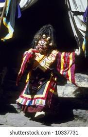 Zurra, Mani Rimdu dancer, dressed as Tibetan god for harvest festival,Thyangboche MonasteryKhumbuNepal