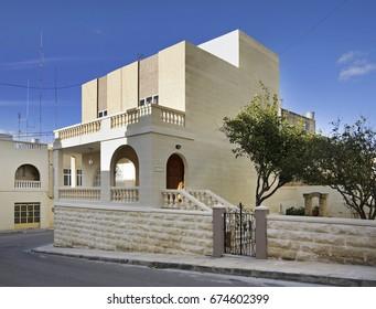 ZURRIEQ. MALTA. 28 FEBRUARY 2012 : Modern house in Zurrieq. Malta