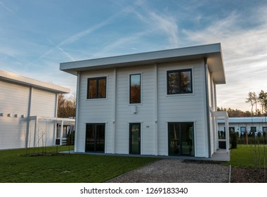 ZUTENDAAL, BELGIUM - DECEMBER 26, 2018: Accommodations made by a Dutch architect Jan des Bouvrie. Located at Landal Mooi  Zutendaal