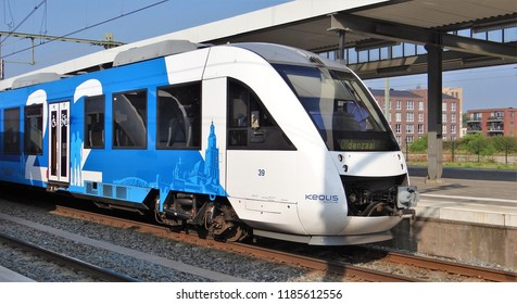 Zutphen / Netherlands - August 22 2018: A blue-white Keolis Lint train at the station of Zutphen as train with the destination Hengelo and Oldenzaal