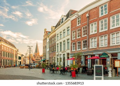 Zutphen, The Netherlands - November 18, 2018: Restaurants on the Houtmarkt central square in the Dutch city of Zutphen, The Netherlands