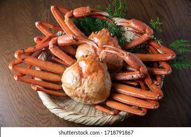 Zuwaigani, snow crab on japanese  bamboo dish