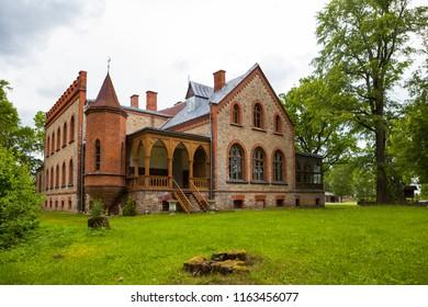 Zvartava castle is neogothic masterpiece of Latvia.