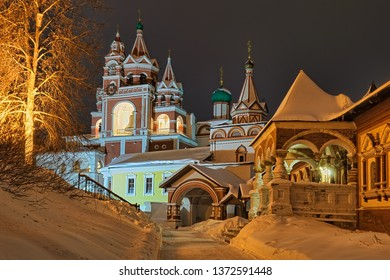 ZVENIGOROD, MOSCOW REGION, RUSSIA - Night view of the magnificent architectural ensemble of Savvino-Storozhevsky monastery in winter after heavy snowfall.