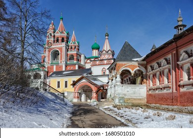 ZVENIGOROD, RUSSIA - Architectural ensemble of Savvino-Storozhevsky monastery in a sunny day after the last heavy snowfall at the end of a mild winter and beginning of the early spring.