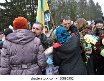 Zvinyache - Chortkiv - UKRAINE - February 25, 2015. Hundreds of villagers Zvinyache with tears of joy greeted his fellow countrymen who defended the Donbass native Ukraine in the war against Russia
