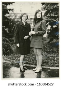 ZVOLEN, CZECHOSLOVAKIA, CIRCA 1968 - Two young women in the park - circa 1968