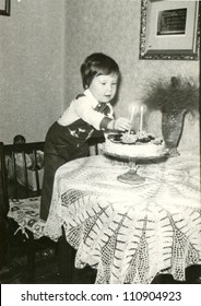 ZVOLEN, CZECHOSLOVAKIA, CIRCA 1975 - happy birthday (two years old child) - circa 1975