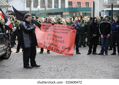 Zweibruecken, Germany - March 20, 2009: Protests against Neo Nazis and right wing extremists demonstrating. Right wing speaker during demonstration.