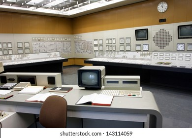 ZWENTENDORF, AUSTRIA - JUNE 1: Old style control room of the Zwentendorf Nuclear Power Plant on June 1, 2013 in Austria. The atomic power plant was built in 1976 with a hot water reactor