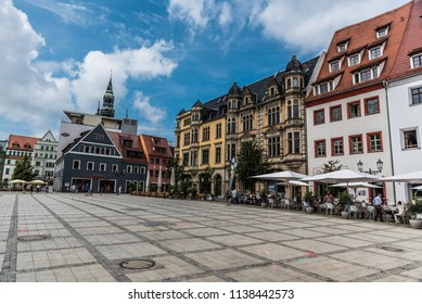 Zwickau, Germany - 08 02 2017: Locals and tourists walking in the streets of old town