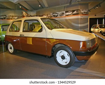 ZWICKAU, GERMANY, AUGUST 2007. Prototype model P601 TRABANT WE II of 1982, successor to former East-German small car P601 TRABANT, exhibited in Germany.