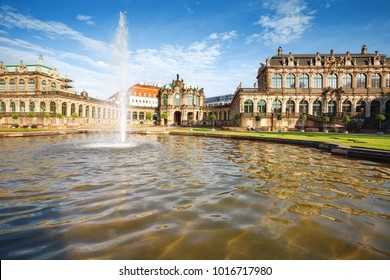 The Zwinger Palace with fountain  in Dresden, Germany. Scene in summer day