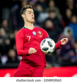ZWITSERLAND, GENEVA - March 26th 2018: Cristiano Ronaldo During the practice friendly interland match of the European champions Portugal vs the Netherlands practicing road to the World Cup