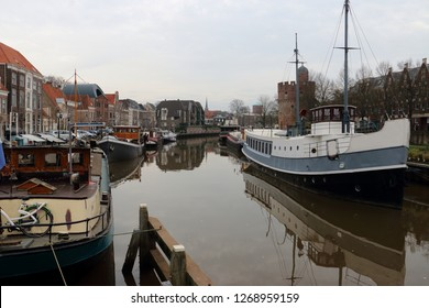 Zwolle capital city in Overijssel, the Netherlands, view on the canal with boats
