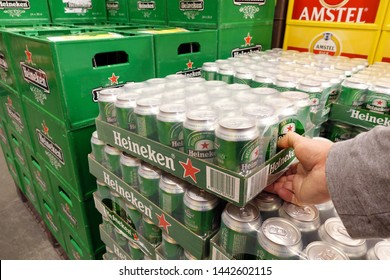 ZWOLLE, THE NETHERLANDS - FEBRUARY 21, 2019: Heineken is a pale lager beer with 5% alcohol by volume produced by the Dutch brewing company Heineken International.