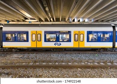 ZWOLLE, THE NETHERLANDS - FEBRUARY 3, 2014: Close up of a Sprinter SLT passenger cars of the Nederlandse Spoorwegen waiting in the train station