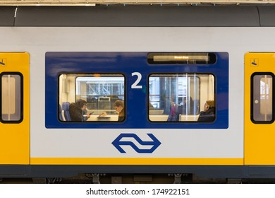 ZWOLLE, THE NETHERLANDS - FEBRUARY 3, 2014: Close up of a Sprinter SLT passenger car of the Nederlandse Spoorwegen
