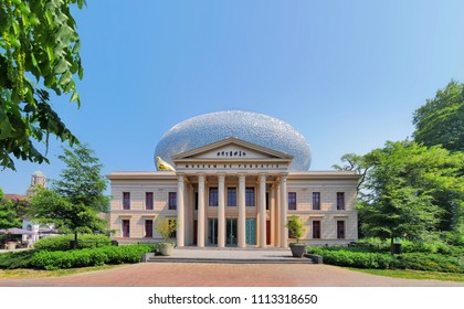 ZWOLLE, NETHERLANDS - May 29, 2018: Museum The Fundatie in  Zwolle, Netherlands.  This former neoclassical Palace of Justice is turned into a museum for arts.  Opposition and association of times.
