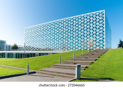 ZWOLLE, NETHERLANDS - NOVEMBER 1, 2014: Exterior of a modern school building. In 2011, the X-building was chosen as Building of the Year in the eastern Netherlands.