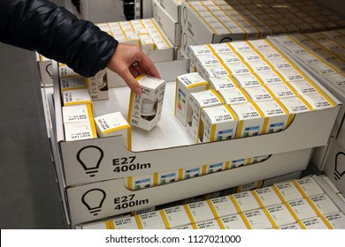 ZWOLLE, THE NETHERLANDS - NOVEMBER 7, 2017: Sale of private label LED light bulbs in Ikea, world's largest furniture retailer.