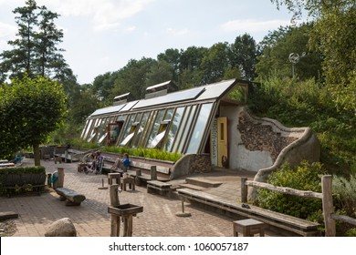 Zwolle, Overijssel / Netherlands - August 01 2014: First Dutch earthship fully energy neutral building at Doepark Nooterhof