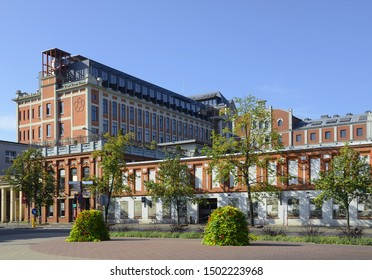 ZYRARDOW, POLAND - AUGUST 24, 2019: Characteristic red brick industrial buildings of the former textile factories. It is the only whole urban industrial 19th-century complex to be preserved in Europe