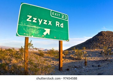 Zzyzx Road freeway sign along the Interstate 15 freeway near Baker, California