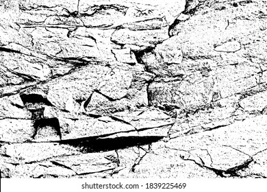 Black white vector graphic bump map of gaps, damages sandy cavities, ragged sharp grooves. Grunge deep scratch dirt of ruined big relief blocks. Old dirty marble hill cliff use for 3d volume backdrop
