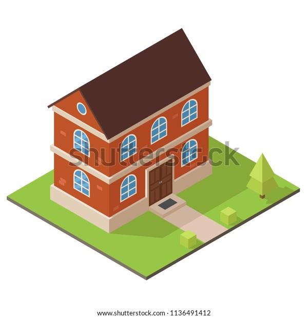 3д модель дома иллюстрация. Недвижимость. Изометрический двухэтажный красный кирпичный дом. Векторная иллюстрация.