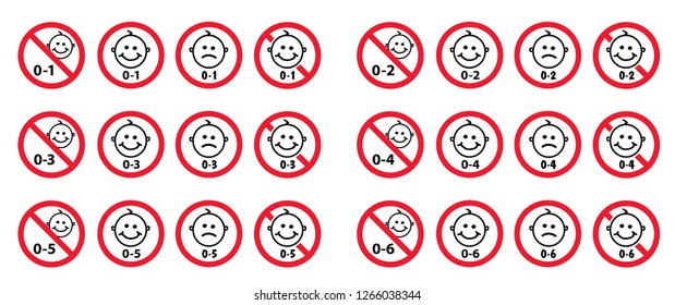 0, 1, 2, 3, 4, 5,  plus under only years old sign signs Set of vector signs not suitable for kids under specific age limit kids child no baby Adults only content icon age symbol Prohibition < or + age