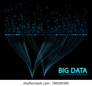 0 and 1 binary code, matrix data visualization with big number of curve lines and points structure for analysis. Big data analytics methods and visualization concept vector design. Blue 0 1 numbers.